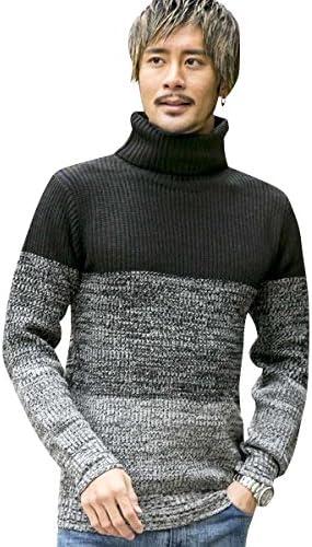 ニット セーター 畦編みボトルネックセーター 02-53-6859 50(L) 黒グラデ(05) ADMIX