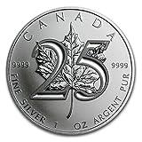 2013 Canada Maple Leaf 25th Anniversary - 1 oz pure Silver Coin - $5 Brilliant Uncirculated