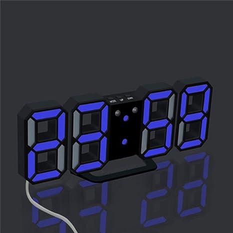 skgardeniamy Moderna de Carga USB 3D led Soporte de Mesa Pared Digital Reloj Alarma Pantalla Decor