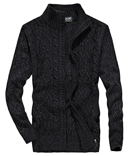 Zipper Sweater amp;W Full Mens amp;S Sleeve Winter M Cardigan Black Long FXT5zqnx