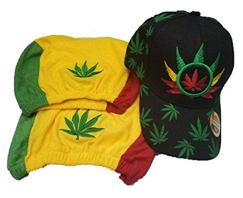 BUNFIREs 3pcs Weed Leaf Pot Cannabis Marijuana Headrest Cover Flag W/Baseball Hat