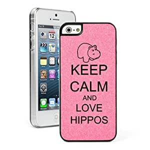Pink Apple iPhone 5c Glitter Bling Hard Case Cover CG372 Keep Calm and Love Hippos