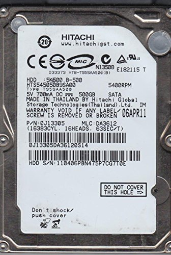 Hitachi Hard Drive SATA 9.5mm 500GB 2.5in 5400RPM HTS545050B9SA00