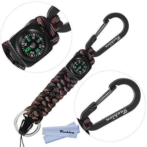 Paracord Survival Key (Techion[60-inch Disassembled Length]7-inch Braided Strong Paracord Survival Keychain Key Ring with [Compass][Carabiners][Quick Release Clip](Forest Camo))