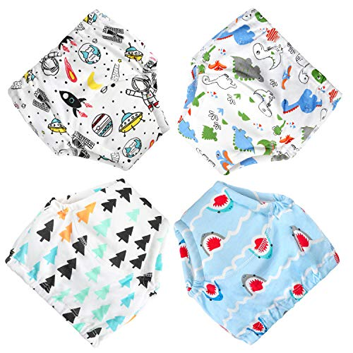 MooMoo Baby CottonTraining Pants 4 Pack Padded Toddler Potty Training Underwear for Boys-5T