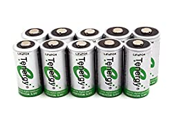 Combo: 10pcs RCR123A 3.0V (3.2V NOM) 400mAh LiFePO4 Rechargeable Batteries