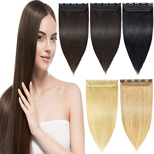 EMERLY Clip in Human Hair Extensions Long Straight 3/4 Full Head One Piece Human REMY Hair Extension for Women Brown Hair Extensions 18-22 inch