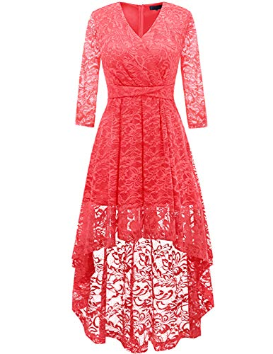 (DRESSTELLS Women's Vintage Floral Lace Bridesmaid Dress 3/4 Sleeve Wedding Party Cocktail Dress Coral S)