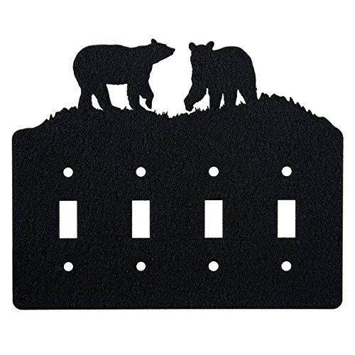 Bear Quadruple Toggle Light Switch Wall Plate (Quadruple Toggle, Black)