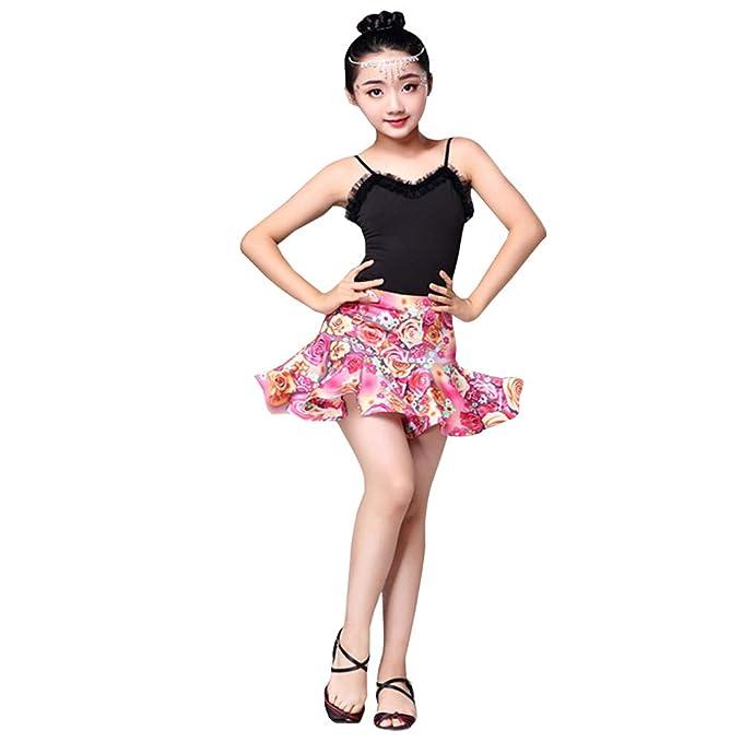 794dd37c5678 BOZEVON Gonna da Ballo Latina per Bambini - Vestiti Estivi da Allenamento a  Manica Corta da Ballo Estivi per Bambina: Amazon.it: Abbigliamento