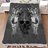 iPrint Bed Skirt Cover 3D Print,Between Two Canine Animals Wildlife Grunge Tattoo,Best Modern Style Bed Skirt for Men and Women by 94.5''x102.3''