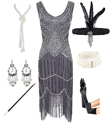1920s Gatsby Sequin Fringed Paisley Flapper Dress with 20s Accessories Set (3XL, Grey) -