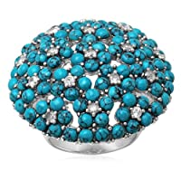 Jewelili Turquoise and Created Round White Sapphire Ring in Sterling Silver, Size 7 from Jewelili
