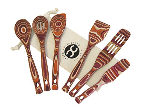 Exotic Pakkawood 6-Piece Kitchen Utensil Set with 12-in Spoon, 12-in Slotted Spoon, 12-in Spatula, 12-in Corner Spoon, 13-in Large Spurtle, & 9-in Small Spurtle - by Crate Collective (Sunrise)