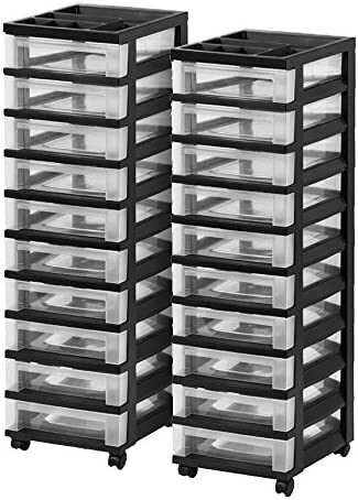 Black 2 Pack IRIS 3-Drawer Rolling Storage Cart with Organizer Top