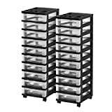IRIS 10-Drawer Rolling Storage Cart with Organizer Top, Black, 2 Pack