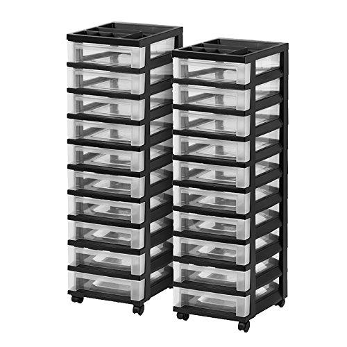 IRIS 10-Drawer Rolling Storage Cart with Organizer Top, Black, 2 (Solutions Bin)