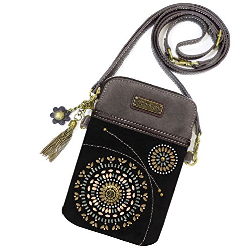 Chala Dazzled Crossbody Cell Phone Purse - Women Faux Leather Multicolor Handbag with Adjustable Strap (Starburst - Black)