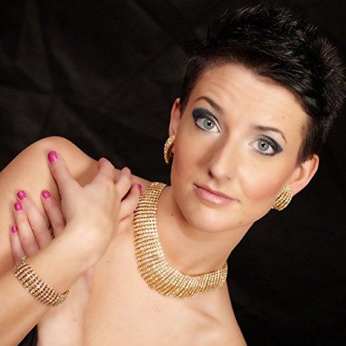 Bijoux Collier Parure Collier Boucles d'Oreilles Clips Bracelet Femme Plaqué or Glamour Pur