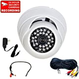 VideoSecu 700TVL Built-in Effio CCD Infrared Outdoor Dome Security Camera Vandal Armor Day Night Vision Camera with Power Supply, and Power Cable A77