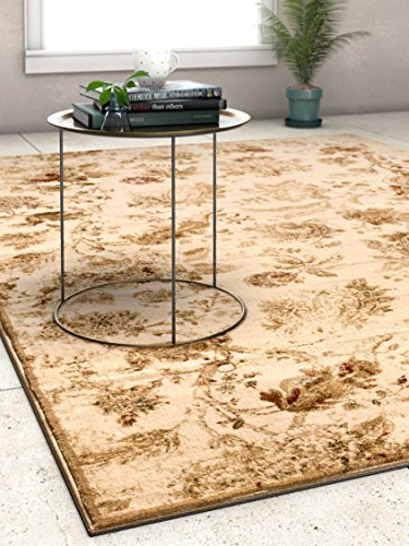 Lila Bouqet Cream & Beige Floral Area Rug Distressed Vintage Traditional by Well Woven