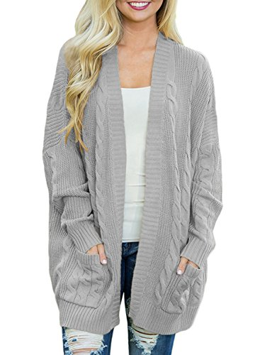 (Dearlove Women's Oversized Long Sleeve Open Front Cable Knit Cardigan Sweater Casual Loose Coat Outwear with Pocket Solid Grey M)