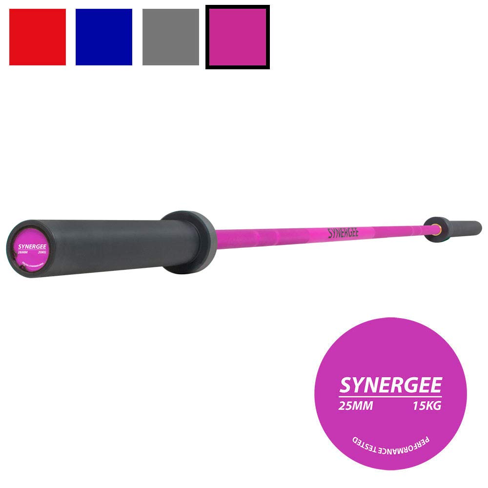 Synergee Games 15kg Colored Women's Pink Cerakote Barbell. Rated 1500lbs for Weightlifting, Powerlifting and Crossfit