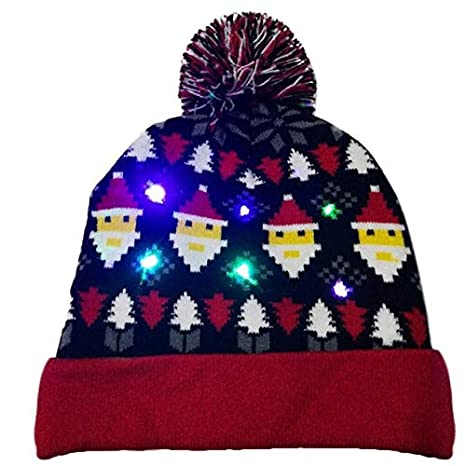 CYDKZMEPA 2019 LED Christmas Beanie Ugly Christmas Sweater Christmas Tree  Beanie Light Up Sombrero de Punto para niños Fiesta de Navidad para Adultos  - BS  ... 35894e35aa0