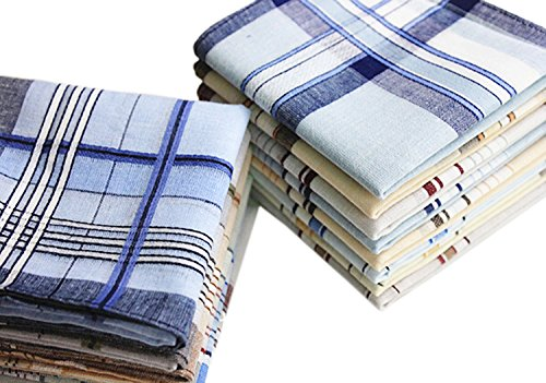 Striped Woven Skirt (LACS Mens Classic Woven Cotton Striped Handkerchiefs Hankies Pack)