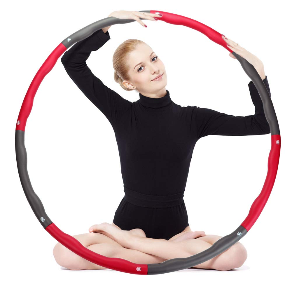 OPLIY Hula Hoop,Weighted Exercise Hula Hoop-2.2 lb for Women Kids, Adjustable 8 Detachable Sections Weight Loss Fitness Hula Hoop for Exercise Workout