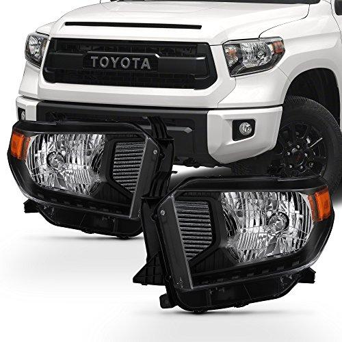 For 2014-2018 Toyota Tundra TRD Pickup Truck Black Bezel Headlights Lamp Assembly Driver & Passenger Side