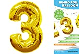 product number 3 - Rainbowloons Jumbo Mylar Foil Balloon, 40-Inch, Glossy Gold, Number 3