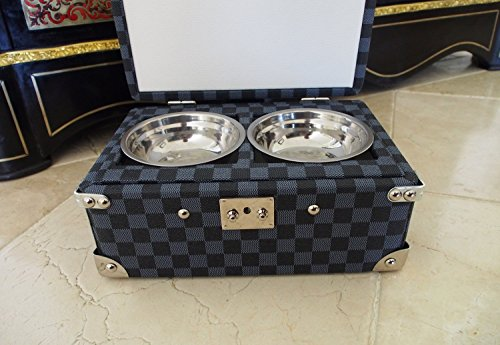 Dog travel bowls in wood covered chest by Dog in Paris