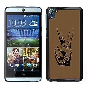 TopCaseStore / la caja del caucho duro de la cubierta de protección de la piel - Peace Hand Sign - HTC Desire D826