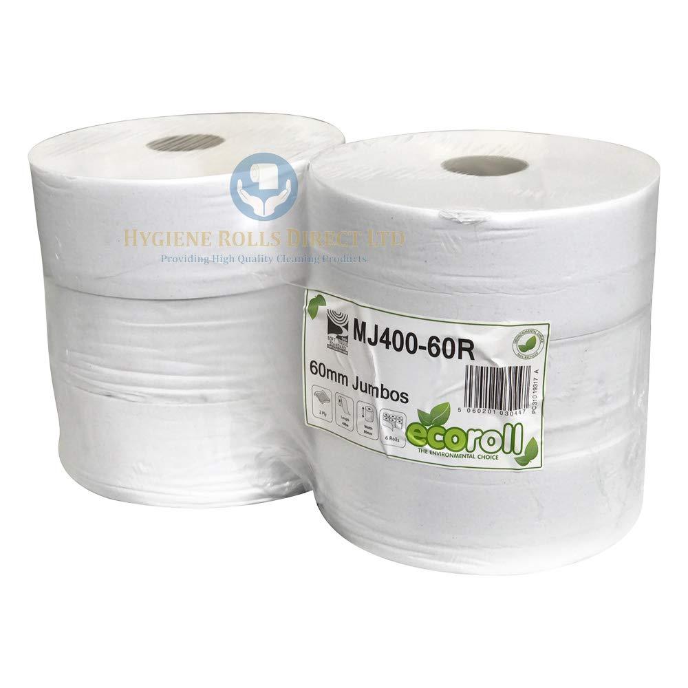 2ply White Maxi Jumbo Toilet rolls 400m x 6 rolls