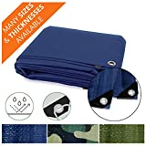 Heavy Duty Tarps | Waterproof Ground Tent Trailer Cover | Multilayered Tarpaulin in Many Sizes and Thicknesses | 6 Mil - Blue - 14' x 16'