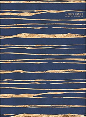 2018 navy and gold glitzy stripes 16 month monthly planner sept 2017 dec 2018
