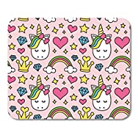 "Mouse Pads Cute Unicorn Princess Girl Beauty Pink Cartoon Magic Fairy Tale Heart Rainbow Crown Stars Diamond Pop Mouse Pad Mats 9.8"" x 11.8"""