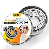 RYDOR Dogs Flea Tick Collar - Natural Flea Prevention Collar Dogs - One Size Fits All - Easily Adjustable, Waterproof Natural Essential Oil Extracts Flea Tick Control Collar
