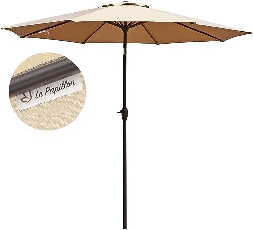 Le Papillon 9 ft Outdoor Patio Umbrella Aluminum Table Market Umbrella Crank Lift Push Button Tilt