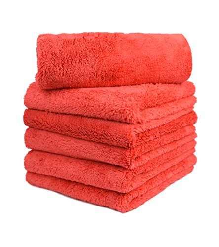 CARCAREZ Microfiber Car Wash Drying Towels Professional Grade Premium Microfiber Towels for Car Wash Drying 450GSM 16 in.x 16 in. Pack of 6 (6 Pack, Red) ()