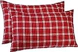 Pinzon 160 Gram Plaid Flannel Pillowcases - King, Bordeaux Plaid
