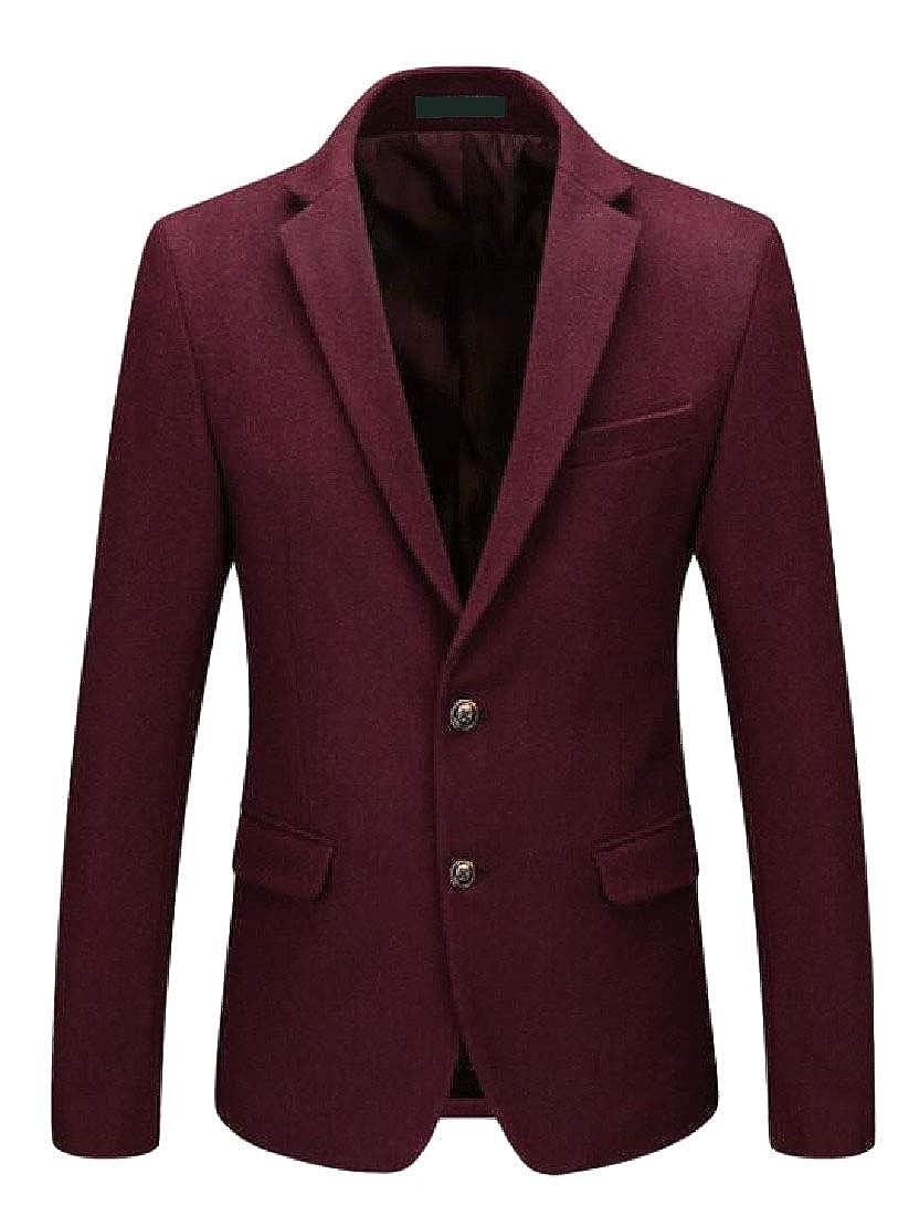 Pandapang Men Wool-Blend Slim Fit Lapel Sport Coat Two Button Blazer Jacket