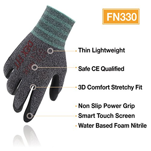 DEX FIT Lightweight Nitrile Work Gloves FN330, 3D Comfort Stretch Fit, Durable Power Grip Foam Coated, Smart Touch, Thin Machine Washable, Black Grey Small 3 Pairs Pack by DEX FIT (Image #1)