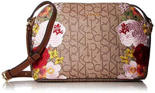 (Calvin Klein Mercy Signature Monogram Key Item Top Zip Crossbody, textured khaki/brown/luggage floral)