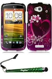 HTC One VX Purple Love Case Cover Protector Include FoxyCase Stylus cas couverture