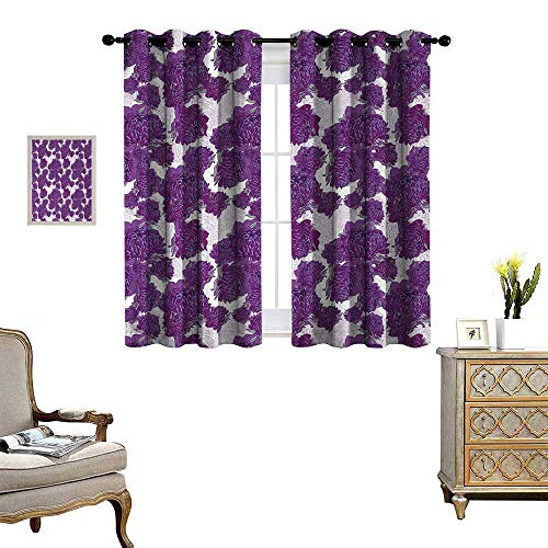 Anyangeight Mauve Thermal Insulating Blackout Curtain Unusual Vivid Allium Flower Petals Design Abstract Hippie Victorian Peony Artwork Patterned Drape for Glass Door W55 x L72 Purple White (Design Flower Knob Petal)