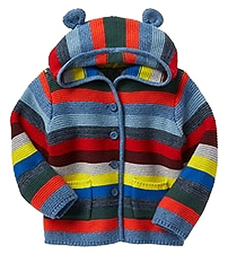 Baby Gap Factory Boys Crazy Stripe Bear Hoodie Cardigan Sweater 6-12 Months (Baby Gap Bear)