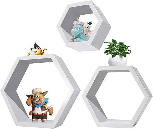 NICECHOOSE Hexagonal Shelves, 3Pcs Wall Mounted Shelf Floating Shelves Wood Storage Rack Display for Home Bedroom Kids Room Decor – White