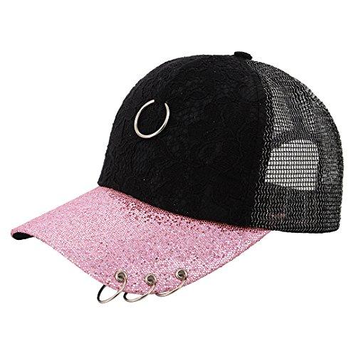 Surkat Unisex Sparkle Sequins Sheer Mesh Baseball Cap Adjustable Snapback Baseball Hat Sunhat(Pink)